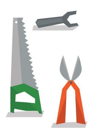 pruner: Saw, pruner and wrench vector flat design illustration isolated on white background. Illustration