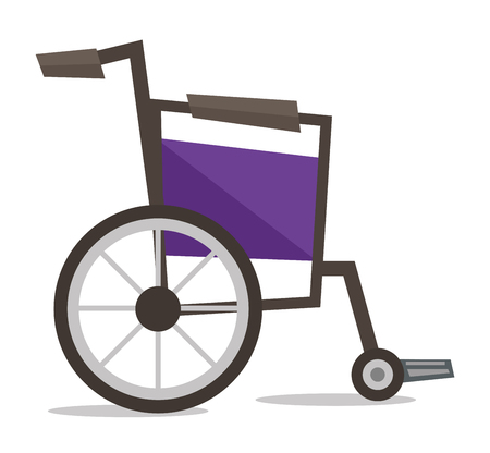 medical equipment: Side view of empty wheelchair vector flat design illustration isolated on white background. Illustration