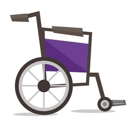 Vista lateral de la silla de ruedas vacía ilustración vectorial diseño plano aislado en el fondo blanco.