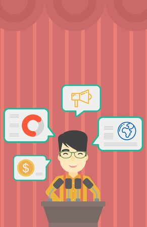 asian business meeting: An asian speaker standing at podium with microphones at business conference. Speaker giving speech at podium and speech squares around him. Vector flat design illustration. Vertical layout.