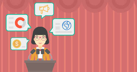 business conference: An asian speaker standing on podium with microphones at business conference. Woman giving speech at podium and speech squares around her. Vector flat design illustration. Hhorizontal layout.