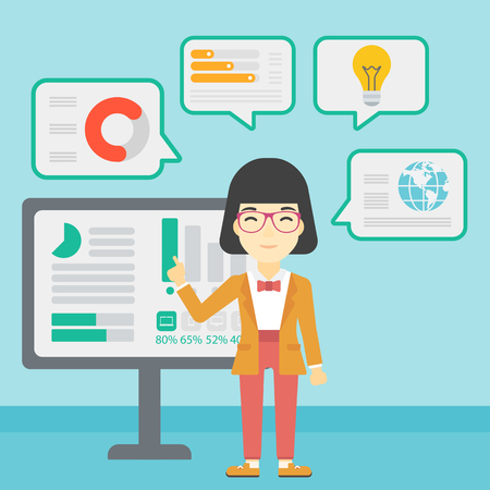 basic shape: An asian business woman pointing at charts on a board during business presentation. Woman giving a business presentation. Vector flat design illustration. Square layout.