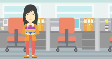 stack of files: An asian business woman standing with pile of folders in the office. Business woman carrying stack of folders. Vector flat design illustration. Horizontal layout. Illustration