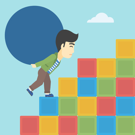 uphill: An asian man rising up on the colored cubes and carrying a big stone on his back. Man with huge concrete ball. Vector flat design illustration. Square layout. Illustration