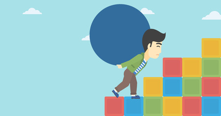 basic shape: An asian man rising up on the colored cubes and carrying a big stone on his back. Man with huge concrete ball. Vector flat design illustration. Horizontal layout.