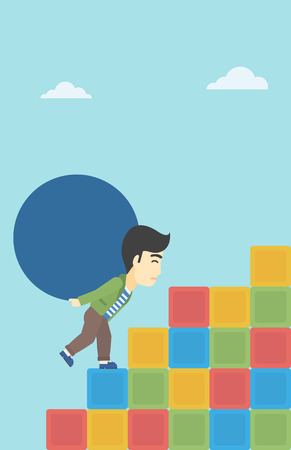 uphill: An asian man rising up on the colored cubes and carrying a big stone on his back. Man with huge concrete ball. Vector flat design illustration. Vertical layout.