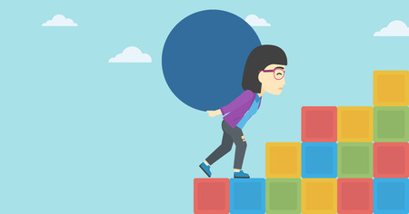 uphill: An asian woman rising up on the colored cubes and carrying a big stone on her back. Woman with huge concrete ball going up. Vector flat design illustration. Horizontal layout. Illustration