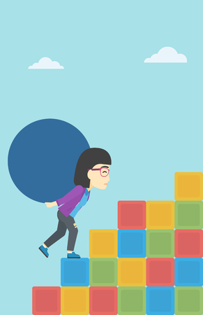 sisyphus: An asian woman rising up on the colored cubes and carrying a big stone on her back. Woman with huge concrete ball going up. Vector flat design illustration. Vertical layout.