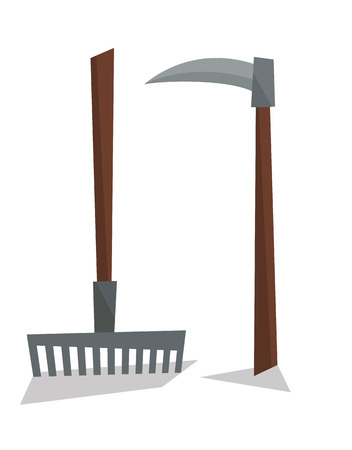 agricultural: Agricultural rake and scythe vector flat design illustration isolated on white background.