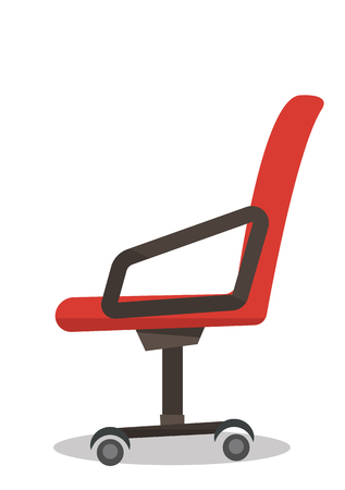 Red office chair vector flat design illustration isolated on white background. Vettoriali