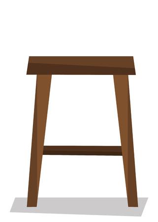 wooden stool: Wooden backless stool vector flat design illustration isolated on white background. Illustration