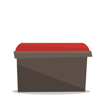 footstool: Bedside red chair vector flat design illustration isolated on white background.