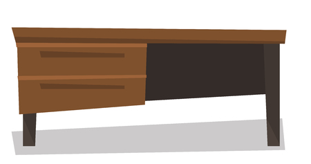 drawers: Wooden desk with drawers vector flat design illustration isolated on white background. Illustration