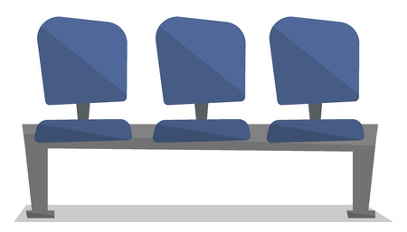 aisle: Row of blue chairs vector flat design illustration isolated on white background.