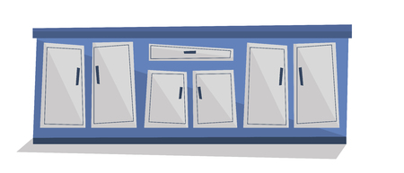 kitchen cabinet: Kitchen cabinet with drawers vector flat design illustration isolated on white background. Illustration