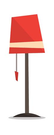 Red floor lamp vector flat design illustration isolated on white background.
