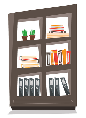 Office shelves with folders vector flat design illustration isolated on white background.