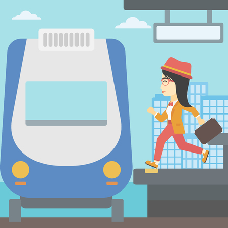 woman running: An asian latecomer woman running along the platform to reach the train. Young woman with briefcase at the train station. Vector flat design illustration. Square layout.