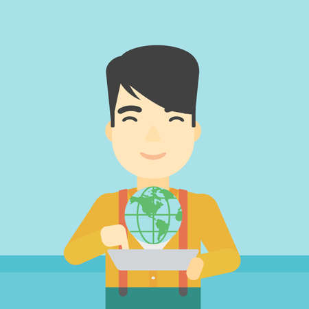 computer model: An asian man holding tablet computer with model of planet earth above the device. International technology communication concept. Vector flat design illustration. Square layout.