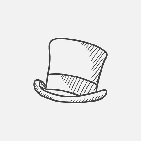 tophat: Cylinder hat sketch icon for web, mobile and infographics. Hand drawn vector isolated icon.