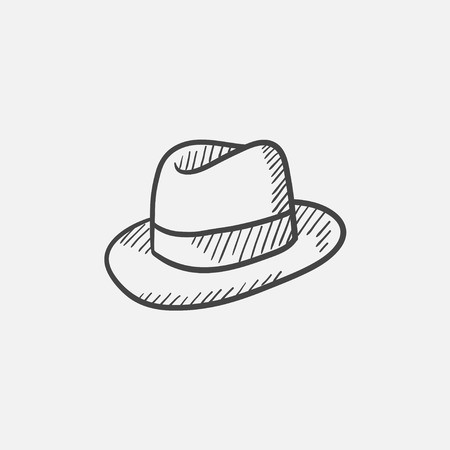 Hat sketch icon for web, mobile and infographics. Hand drawn vector isolated icon. Illusztráció