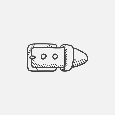 Belt buckle  sketch icon for web, mobile and infographics. Hand drawn vector isolated icon. 일러스트