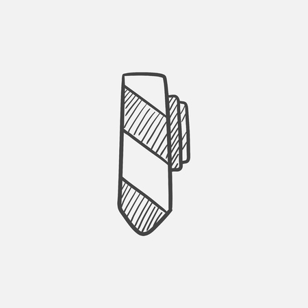 office wear: Tie sketch icon for web, mobile and infographics. Hand drawn vector isolated icon.