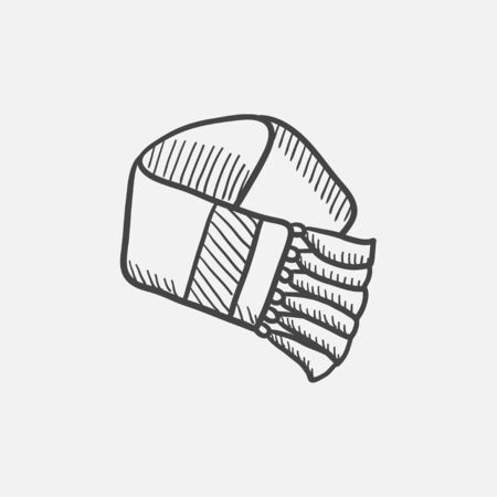 woollen: Scarf sketch icon for web, mobile and infographics. Hand drawn vector isolated icon.
