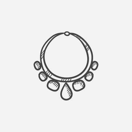 platinum: Necklace with gems  sketch icon for web, mobile and infographics. Hand drawn vector isolated icon.