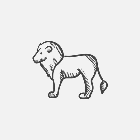 Lion sketch icon for web, mobile and infographics. Hand drawn vector isolated icon.