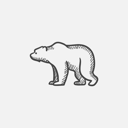 waddling: Bear sketch icon for web, mobile and infographics. Hand drawn vector isolated icon.