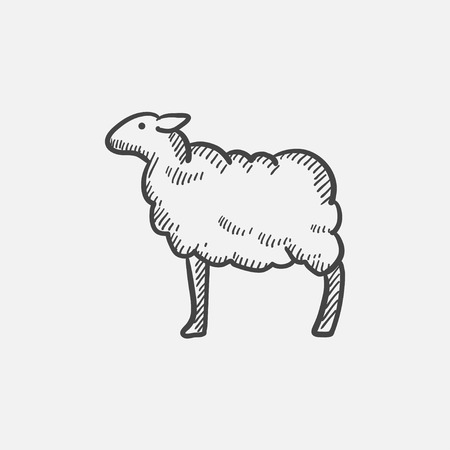 Sheep sketch icon for web, mobile and infographics. Hand drawn vector isolated icon.  イラスト・ベクター素材