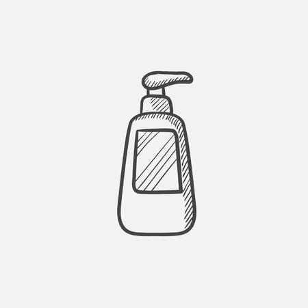 ディスペンサー ポンプとボトルは、web、モバイルのアイコンとインフォ グラフィックをスケッチします。手には、ベクトル分離アイコンが描画され