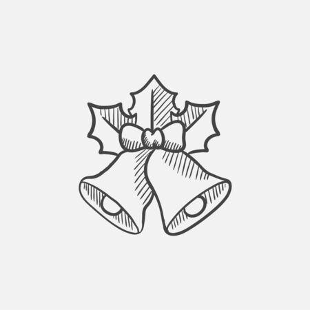 Weihnachtsglocken Skizze Symbol für Web, Mobile und Infografiken. Hand gezeichnet Vektor isoliert Symbol.
