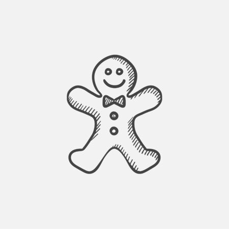 Gingerbread man sketch icon for web, mobile and infographics. Hand drawn vector isolated icon. Stock Illustratie
