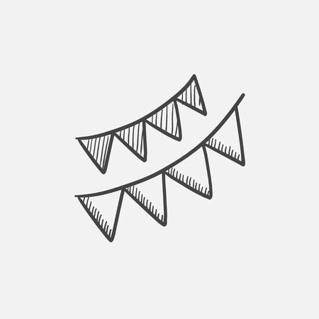 Christmas triangular flags sketch icon for web, mobile and infographics. Hand drawn vector isolated icon. Illustration