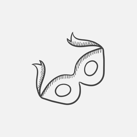 Carnival Mask Sketch Icon For Web Mobile And Infographics Hand Drawn Vector Isolated