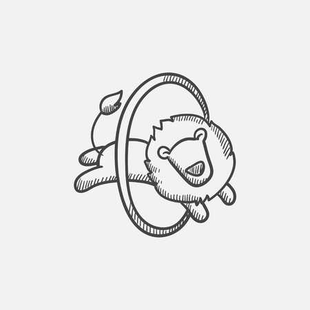 taming: Lion jumping through ring sketch icon for web, mobile and infographics. Hand drawn vector isolated icon.
