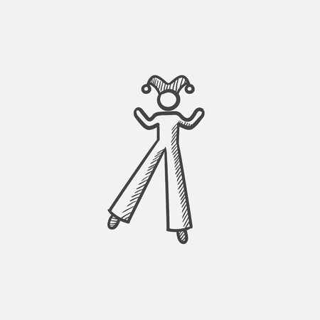 the performer: Clown on stilts  sketch icon for web, mobile and infographics. Hand drawn vector isolated icon.