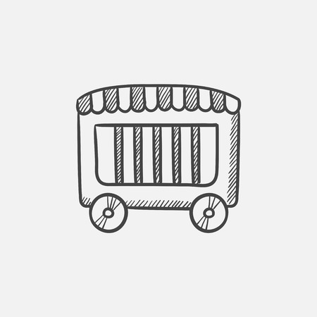 grille: Circus wagon sketch icon for web, mobile and infographics. Hand drawn vector isolated icon.