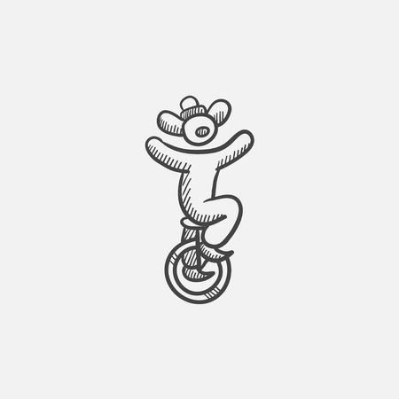 Clown riding on one wheel bicycle sketch icon for web, mobile and infographics. Hand drawn vector isolated icon.