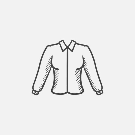 habiliment: Female blouse sketch icon for web, mobile and infographics. Hand drawn vector isolated icon.
