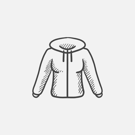 zipper hooded sweatshirt: Hoodie sketch icon for web, mobile and infographics. Hand drawn vector isolated icon.