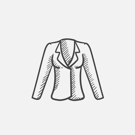 habiliment: Jacket sketch icon for web, mobile and infographics. Hand drawn vector isolated icon.