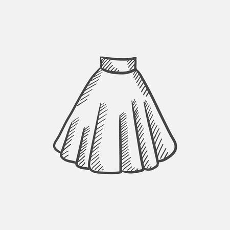 スカートは、web、モバイルのアイコンとインフォ グラフィックをスケッチします。手には、ベクトル分離アイコンが描画されます。  イラスト・ベクター素材