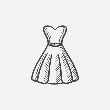 Dress sketch icon for web, mobile and infographics. Hand drawn vector isolated icon.
