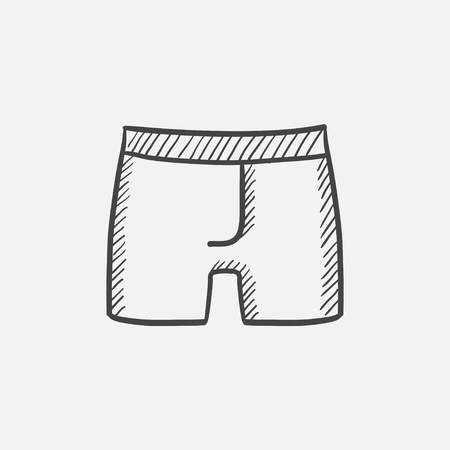 Male underpants sketch icon for web, mobile and infographics. Hand drawn vector isolated icon. Stock Illustratie