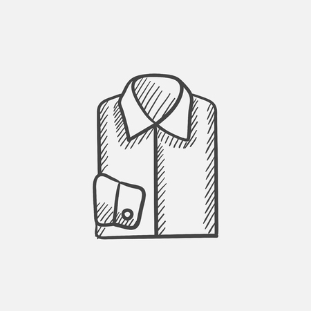 folded hand: Folded male shirt sketch icon for web, mobile and infographics. Hand drawn vector isolated icon.