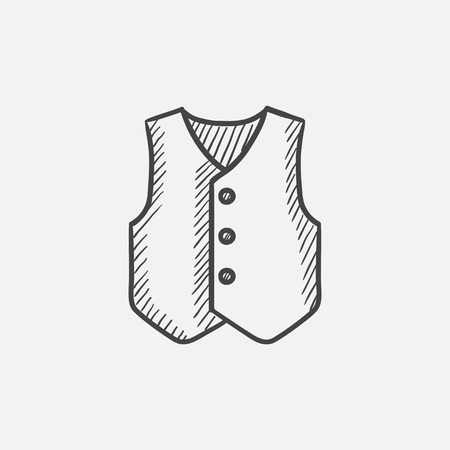 waistcoat: Waistcoat sketch icon for web, mobile and infographics. Hand drawn vector isolated icon.