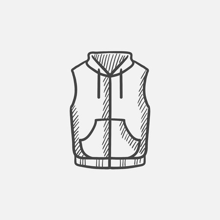 downy: Vest down jacket sketch icon for web, mobile and infographics. Hand drawn vector isolated icon. Illustration